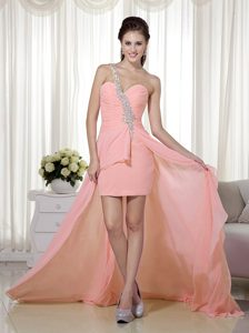 Peach Pink One Shoulder High-low Chiffon Beaded Homecoming Cocktail Dress