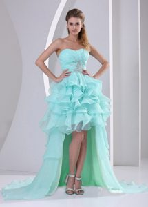 Green Organza High-low Sweetheart Beaded and Ruched Cocktail Dress for Cheap