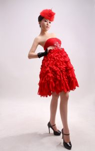 Beaded A-Line Chiffon Red Strapless Knee-length Homecoming Cocktail Dresses