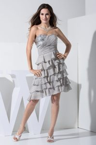 Grey Sweetheart Ruched Cocktail Dresses for Celebrity with Sequins and Layers
