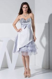 Sequined Sweetheart Cocktail Dress with Bowknot and Ruffled Layers for Cheap
