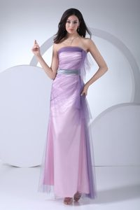 Lilac Tulle and Ankle-length Homecoming Cocktail Dress with Silver Sash