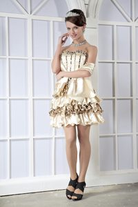 Strapless Mini-length Champagne Layered Beaded Cocktail Dress with Shawl