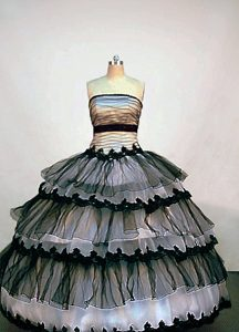 Most Popular Strapless Organza Quinceanera Formal Dress in Black and White