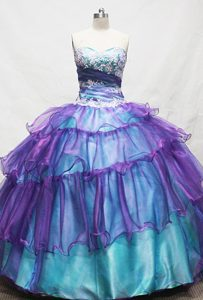 Gorgeous Sweetheart Teal Appliqued Quinceanera Dress with Ruffles on Sale
