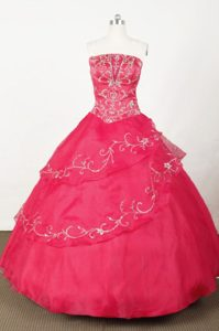 Popular Strapless Long Red Embroidery Quinceanera Dress in Organza