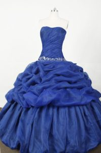 Popular Ball Gown Strapless Dress for Quince with Blue Embroidery for Cheap