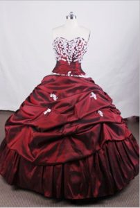 Latest Burgundy Real Sample Quinceanera Gowns with White Appliques to Floor