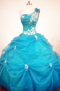 Unique One Shoulder Blue Quinceanera Gowns with White Appliques and Pick-ups