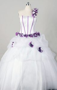 White Modern One Shoulder Quinceanera Dresses with Purple Handmade Flowers