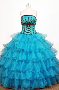 Magnificent Teal Organza Strapless Quinceanera Dresses with Ruffled Layers 2015