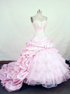 Exquisite Sweetheart Quinceanera Dress with Chapel Train in in Baby pink