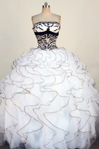 Fashionable Black and White Strapless Dress for Quinceanera with Ruffles to Floor