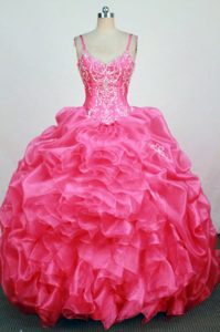 Nice Ball Gown Dresses for a Quinceanera in Hop Pink with Straps and Beading