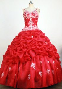 Beautiful Red Sweet Sixteen Dresses with Spaghetti Straps and White Embroidery