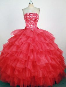 Fave Strapless Quinceaneras Dresses with Beading and Ruffled Layers in Hot Pink