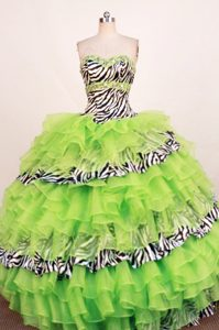 Famous Spring Green Beading Sweetheart Quinces Gowns in Organza and Zebra