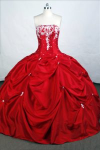 Red Up-to-date Strapless Quinceanera Dresses with Pick-ups and White Appliques