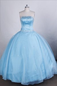 Sophisticated Strapless Dresses for a Quince with Beading in Light Blue in Organza
