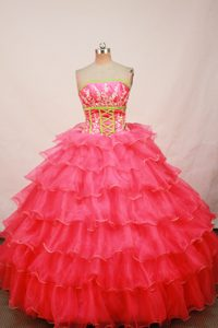 Poised Ruffled Layers Quinceanera Dresses in Hot Pink with Green to Floor Length