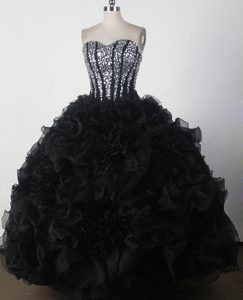 Nice Long Black and White Ruffled Layers Quinceanera Gown with Sequin