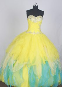 Beautiful Sweetheart Yellow and Green Quinceanera Dress Beaded with Ruffles