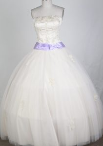 Classical Ball Gown Strapless White Dress for Quinceaneras for Custom Made