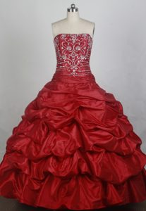 Elegant Strapless Red Beaded Quincenera Dresses with Pick-ups on Promotion