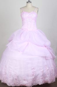 Sweet Pink Quincenera Dresses with Spaghetti Straps and Beading for Cheap