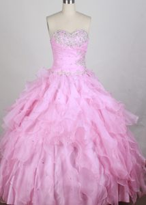 Lovely Sweetheart Pink Quincenera Dresses with Beading and Ruffled Layers