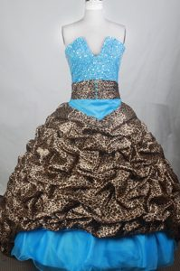 2014 Exquisite Blue and Leopard V-neck Quincenera Dresses with Brush Train