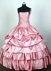Elegant Strapless Light Pink Quincenera Dresses with Pick-ups on Promotion