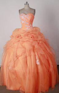 Beautiful Sweetheart Orange Red Quincenera Dresses