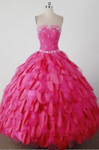 2013 Beautiful Strapless Hot Pink Quincenera Dresses with Beading in 2014