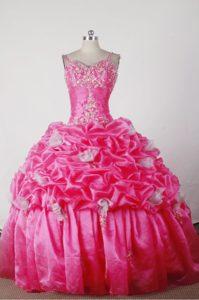 Elegant Straps Hot Pink Quincenera Dresses with Pick-ups on Wholesale Price