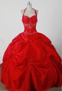 Beautiful Halter Top Red beaded and Ruched Quincenera Dresses with Pick-ups