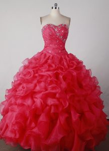 Brand New Sweetheart Red Quincenera Dresses with Ruffled Layers and Beading