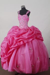 Sweet Straps Hot Pink Quincenera Dresses with Beading and Pick-ups for 2013