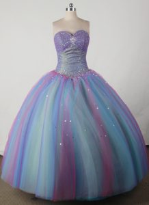 Beautiful Colorful Sweetheart Quincenera Dresses with Beading on Promotion