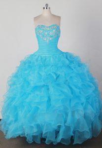 2014 Brand New Strapless Aqua Blue Quincenera Dresses on Wholesale Price