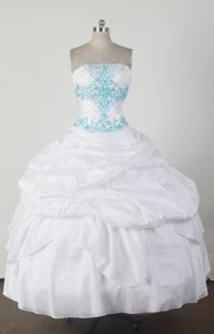 Simple Strapless White Quincenera Dresses with Pick-ups and Beading on Sale