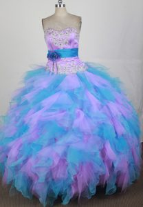 Blue Sweet 16 Quinceanera Dress with Beading and Handle Flower in Organza