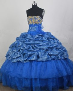 Blue Strapless Quinceaneras Dress with Appliques in Organza on Promotion