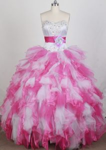 Perfect Pink and White Organza Quinceanera Gowns with Beading and Sash