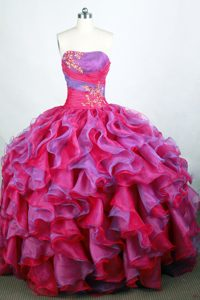 Inexpensive Beaded Ball Gown Strapless Sweet Sixteen Dresses in Organza