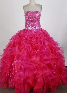 and Organza Quince Dresses in Hot pink with Appliques and Sequins
