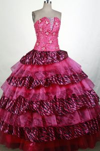 Pretty Hot pink Strapless and Organza Quinces Dresses with Beading