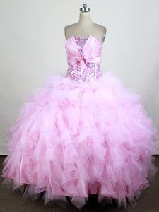 Gorgeous Light Pink Strapless and Organza Sweet Sixteen Dresses