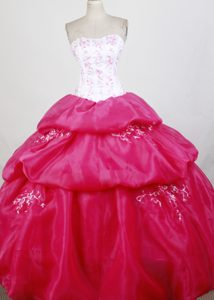 White and Hot Pink Embroidery Quinceanera Gowns with Strapless