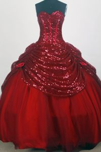Wholesale Price Sweetheart Red Long Quinceaneras Dress in Taffeta